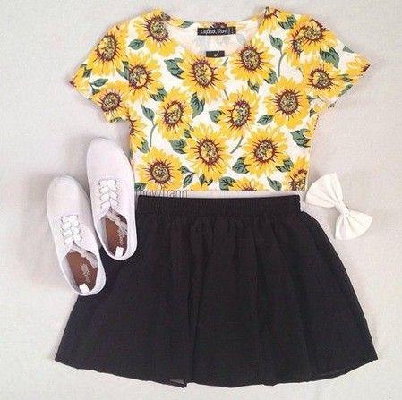 ideia saia roupa preta clássica para a Primavera de 2014, Daisy Shirt & Saia preta
