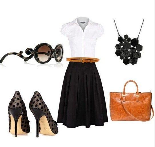 ideia saia roupa preta clássica para a Primavera de 2014