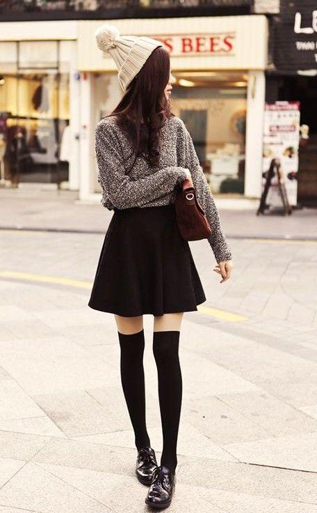 ideia saia roupa preta clássica para a Primavera de 2014, camisola solta com pouco saia preta queimado