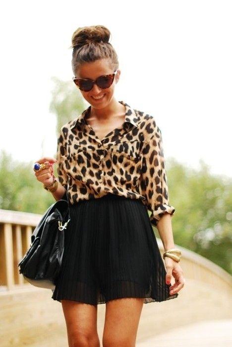 ideia saia roupa preta clássica para a Primavera de 2014, superior Leopard com saia preta