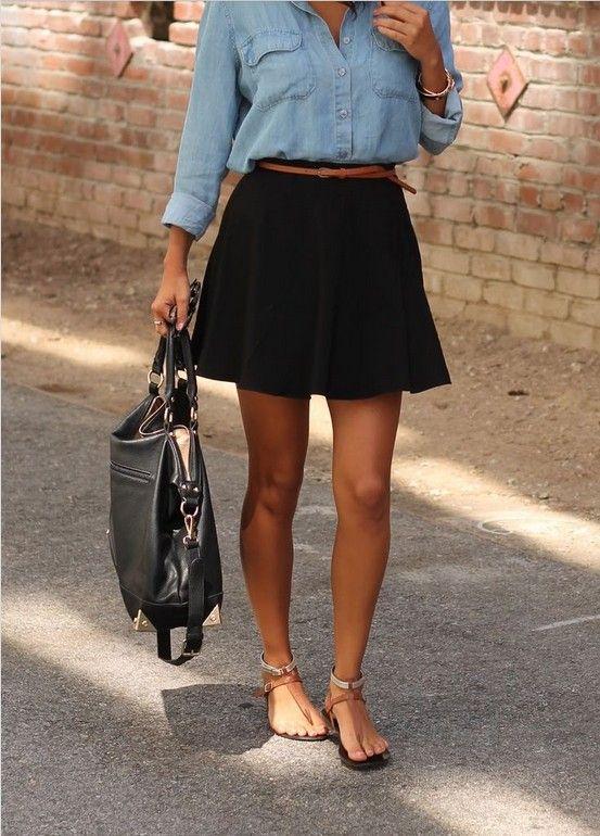 ideia saia roupa preta clássica para a Primavera de 2014, camisa de cambraia com saia preta skater