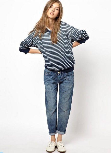 Elliott atual listrado camisola com jeans do namorado