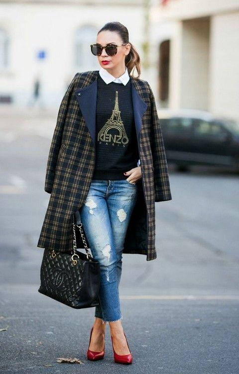 Un Peu Français - Cashmere no estilo preto Kenzo camisola e calças jeans boyfriend
