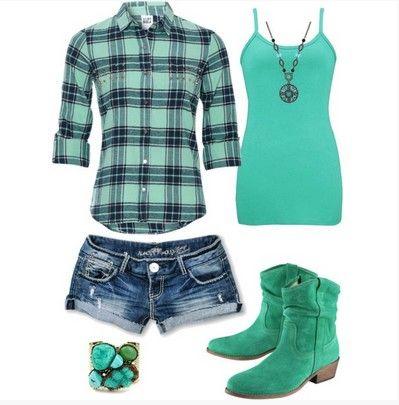 Teal Plaid Outfit, camisa xadrez cerceta, hot shorts e botas