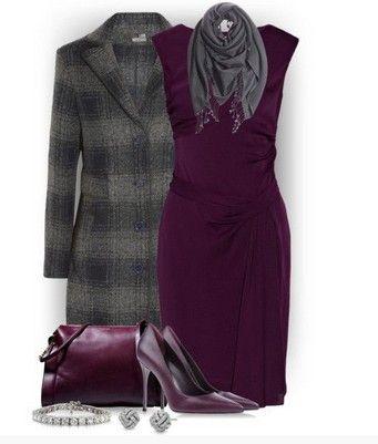 Manta roupa para ocasiões formais, Casaco comprida xadrez, um vestido sólido e bombas roxas