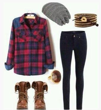 Casual Plaid Outfit, camisa xadrez, tan scalf, Skinnies e marrom botas na altura do joelho