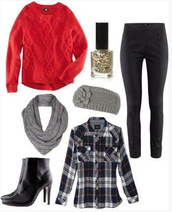 Inverno da queda da manta Outfit, camisola vermelha, camisa xadrez, calças de couro pretas e ankle boots pretas