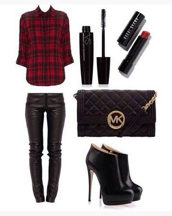 Outfit xadrez, vermelho camisa xadrez, calças de couro pretas e ankle boots pretas