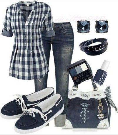 Plaid Outfit marinha, camisa xadrez, jeans e tênis