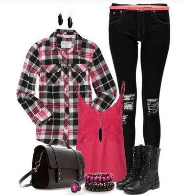 Outfit xadrez, camisa xadrez, skinnies de impressão e botas