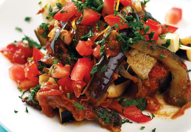 Berinjela cozida e tomate