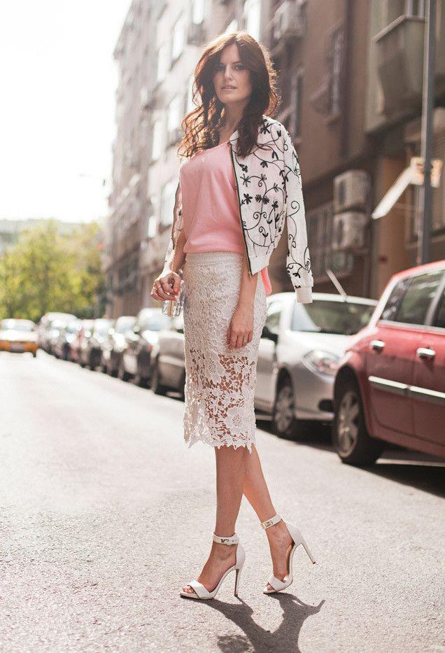 Ideias linda roupa de verão com saias de renda feminina