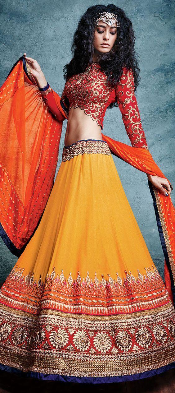 laranja escuro designer de lehenga blusa