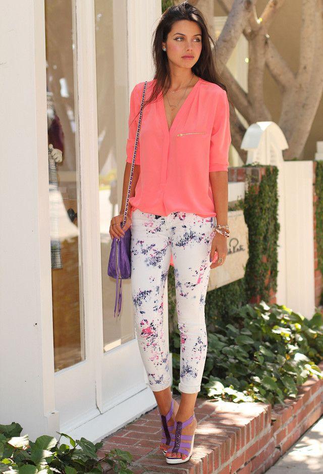 Melhores ideias roupa sobre calças florais
