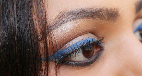 azul delineador olhar cílios falsos