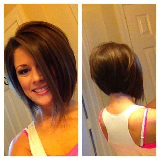 Simples empilhados penteado bob para as meninas