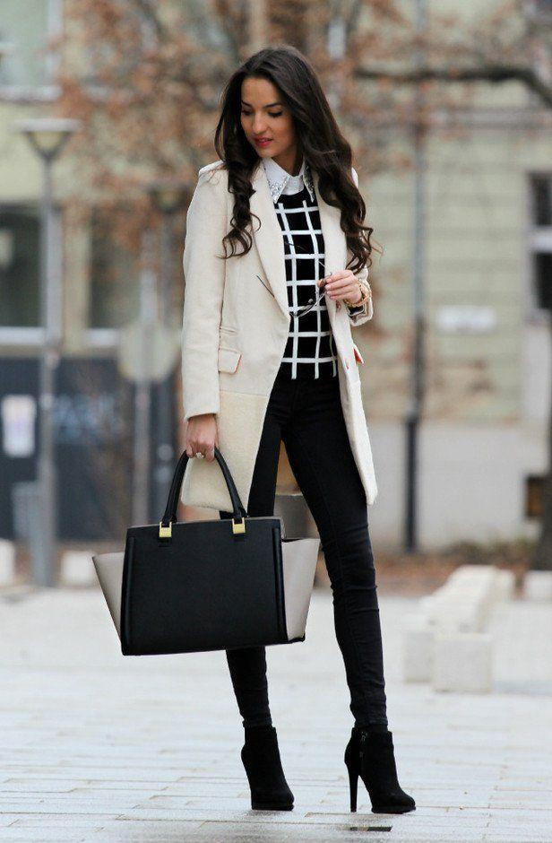 Black and White Outfit para o Outono
