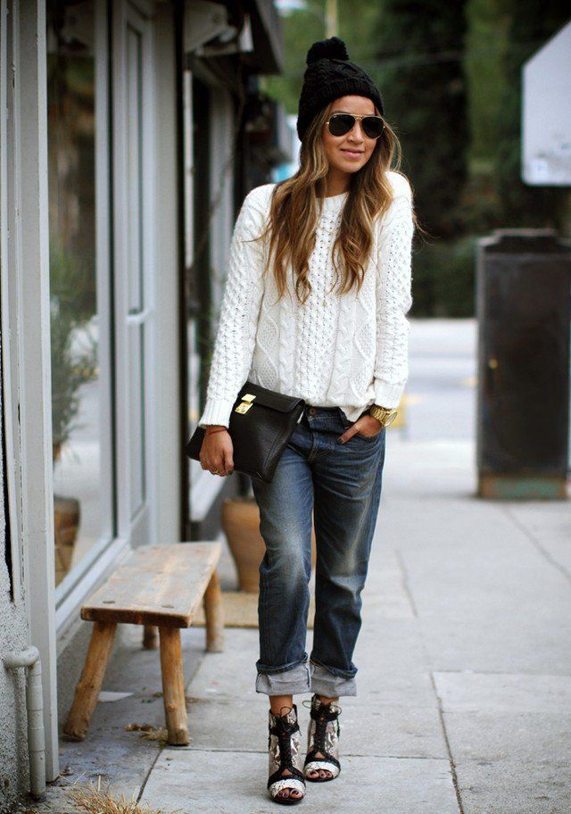 Camisola branca Outfit para o Outono