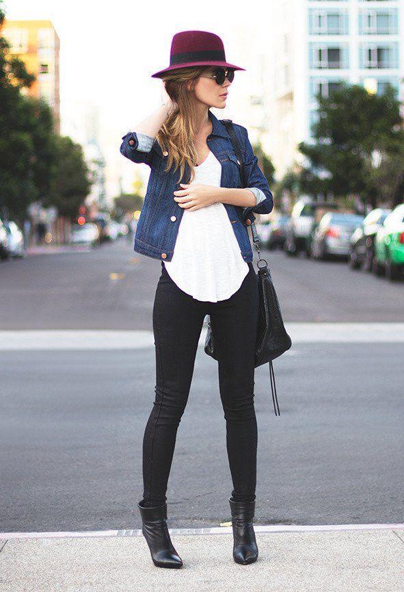 No início Idea Outfit queda com Denim Jacket