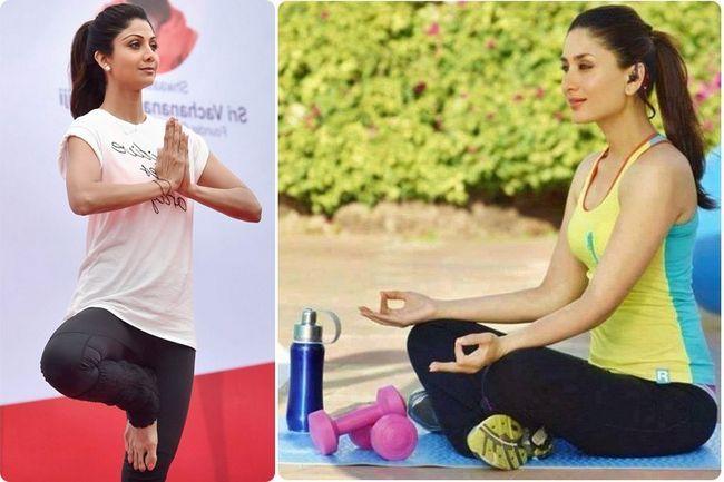 Pegar as celebridades bonitas e impressionantes que fazem a ioga