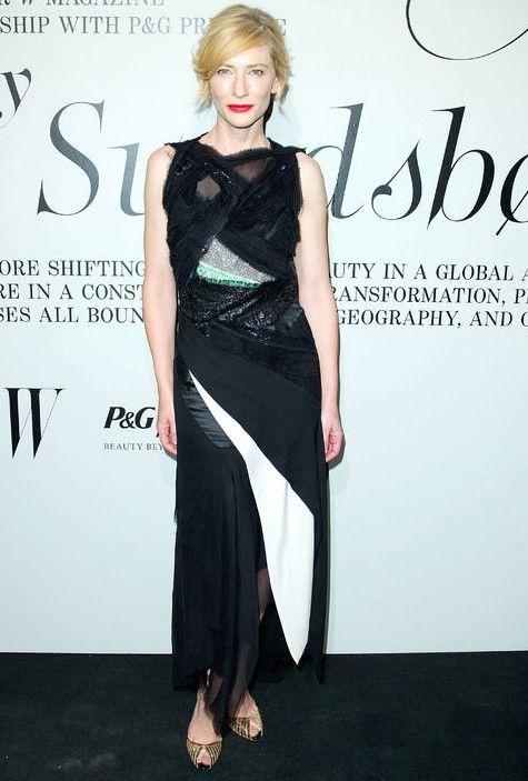 O estilo de cate blanchett - o vencedor do globo de ouro glamourosos vestidos olhar