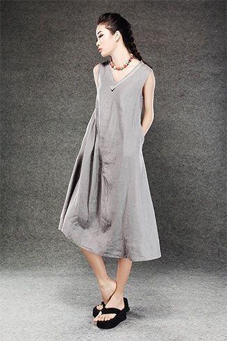 vestido de linho cinza