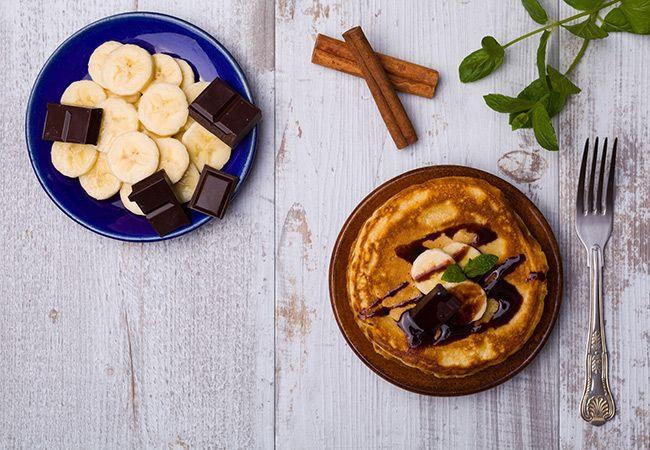 Chocolate receita de banana pancake