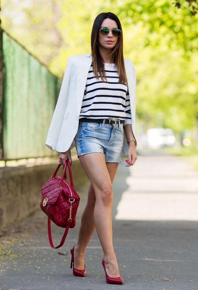 Denim Shorts e Blazer branco Outfit