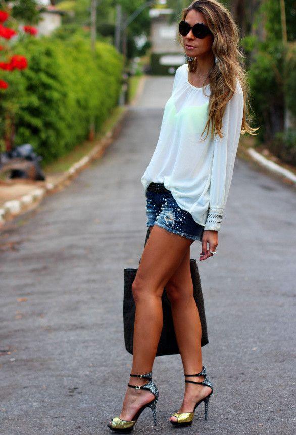 Branca Top e Denim Shorts