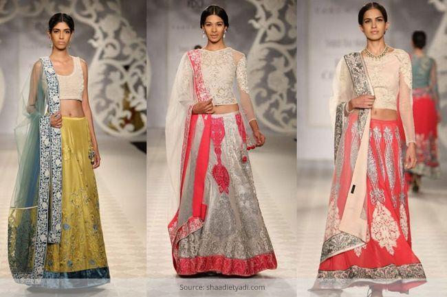 Top curto estilos saree nupcial lehenga