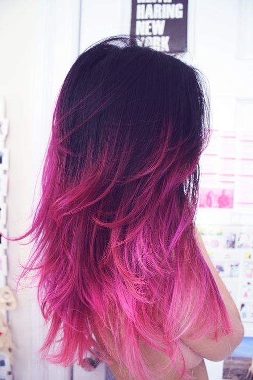 Escuro ao rosa ombre hair - rosa penas dip-dye fantasia