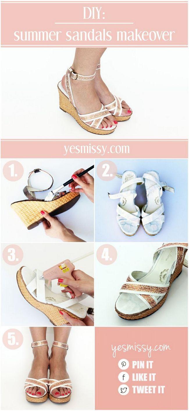 Projetos diy: sandálias de verão bonito