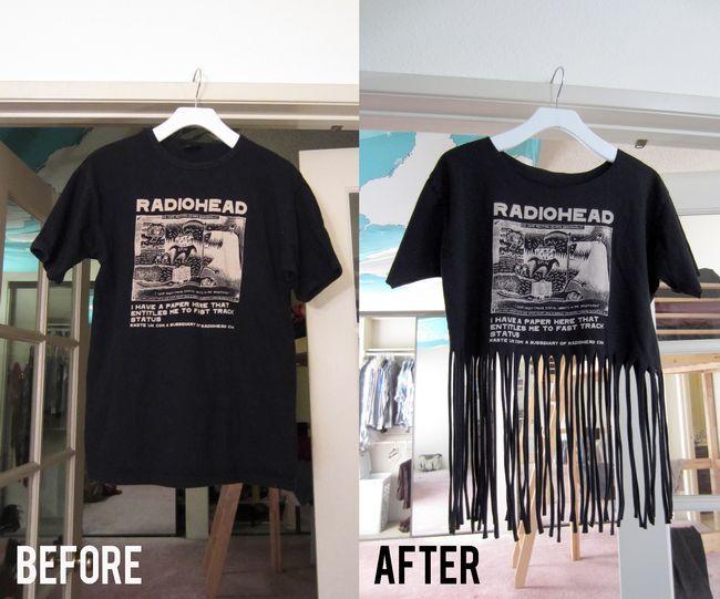 Projetos diy tentar: fazer a sua própria t-shirt franja