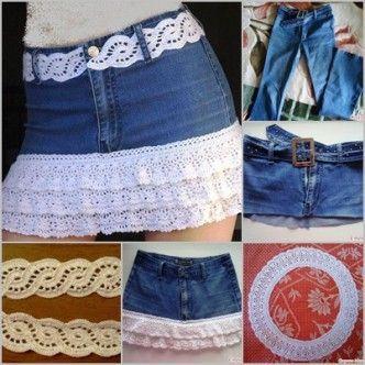 Crochet Fringe Jean Skirt