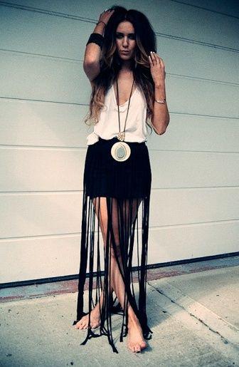 DIY franja longa saia