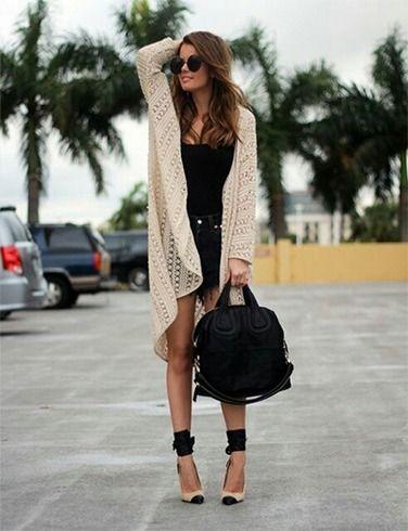 Cardigan com mini saia