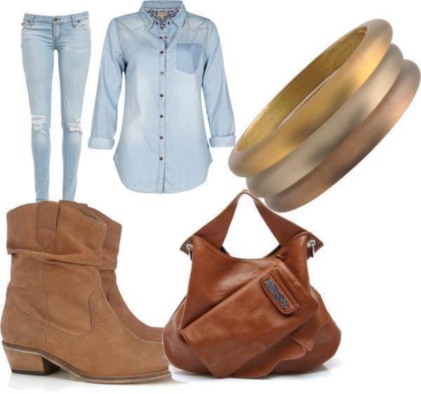 Queda 2014 Vestindo Idea com Denim Outfit