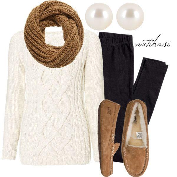 Idea Outfit bonita com camisola branca para o Outono