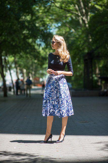 Idea Outfit feminina, com saia de Midi