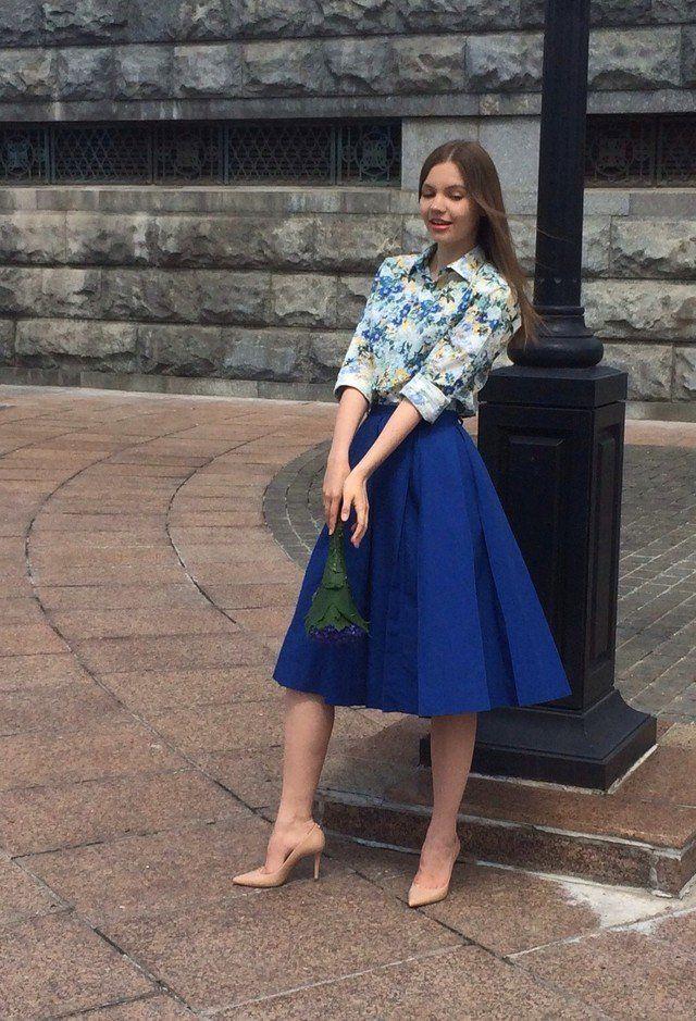 Idea Floral Outfit com saia de Midi