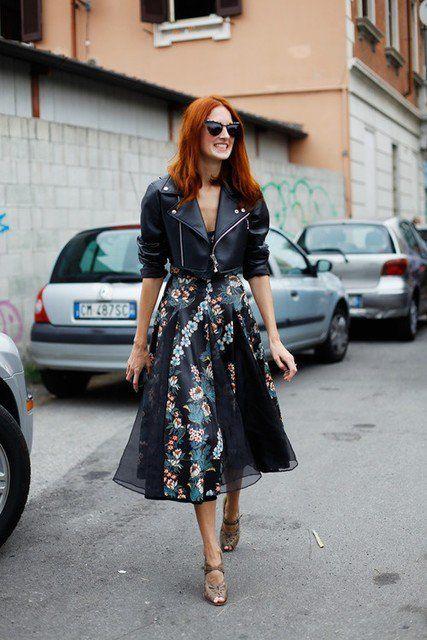 Trendy Idea saia de Midi Outfit com revestimento de couro