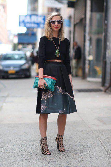 Idea Outfit bonita com saia de Midi