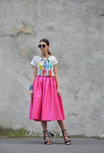 Idea bela rosa saia de Midi Outfit