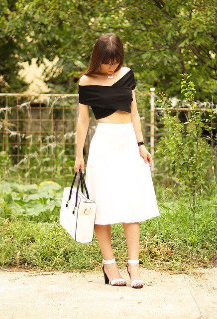 Consideravelmente Idea Branco saia de Midi Outfit