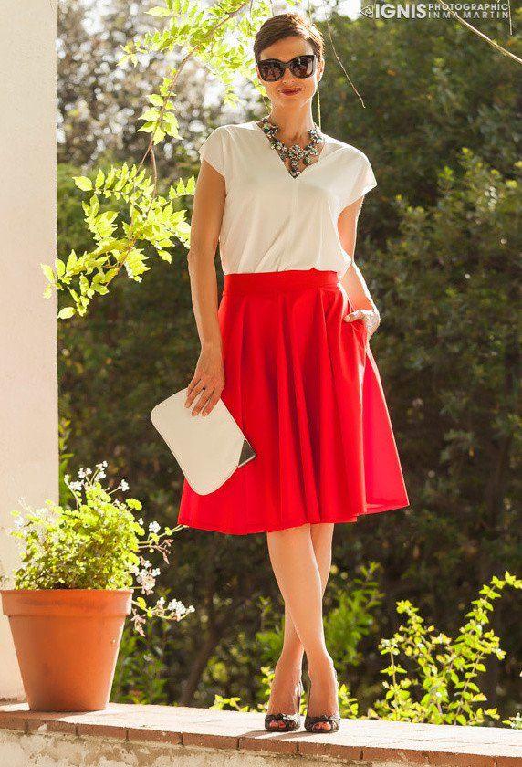 Idea roupa bonita com saia de Midi