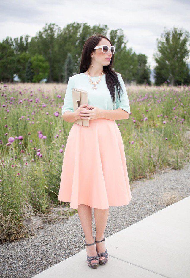 Idea Outfit adorável com saia de Midi
