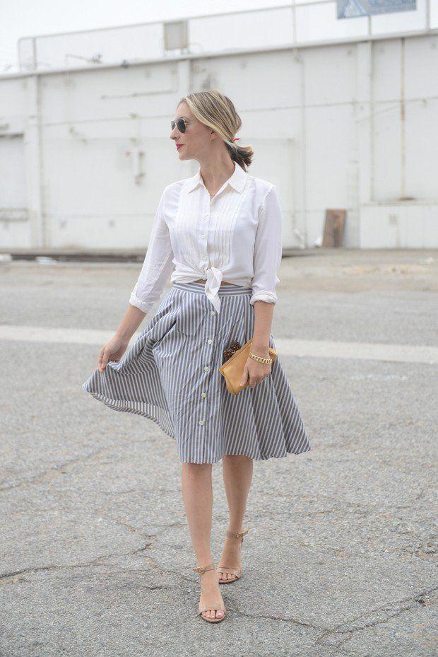 Stripe saia de Midi Outfit Idea