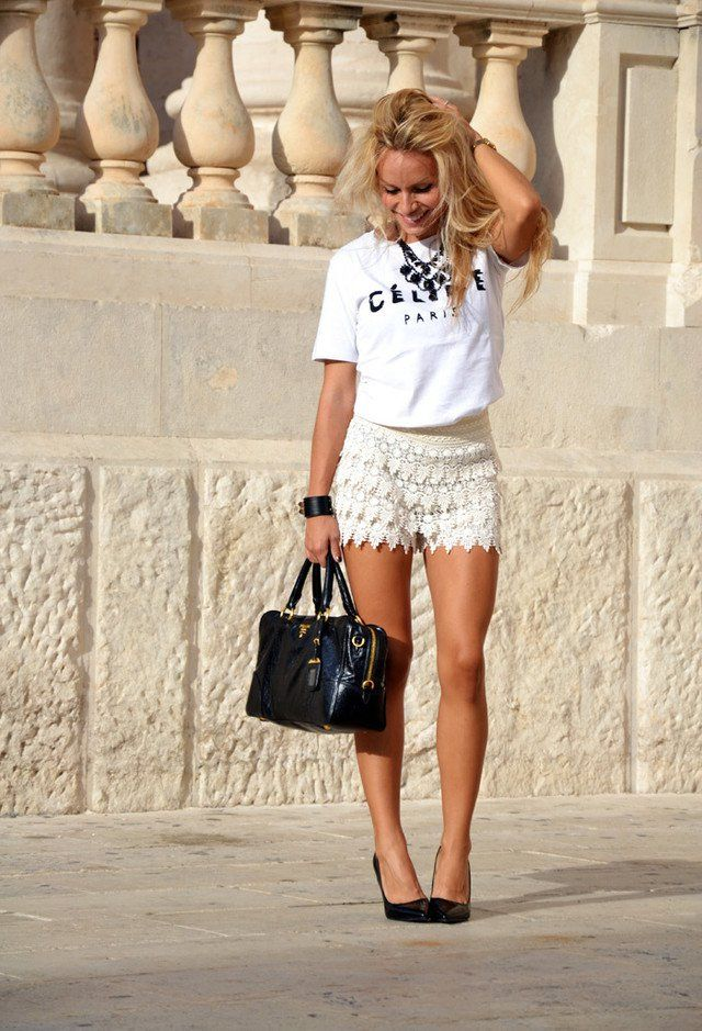 Todos roupa branca com Crochet Shorts