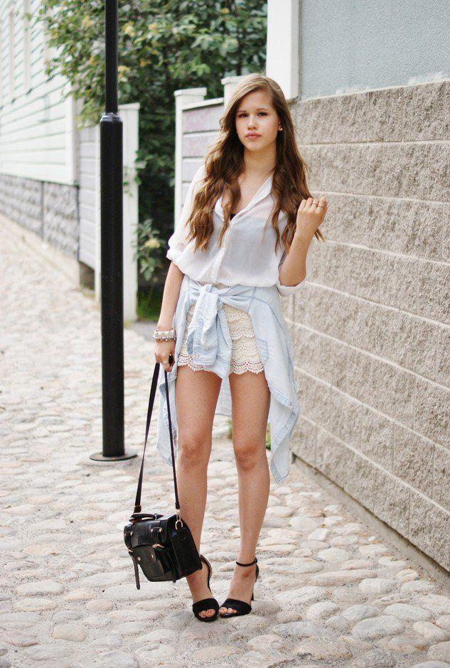 Idea Outfit bonita com Shorts Crochet