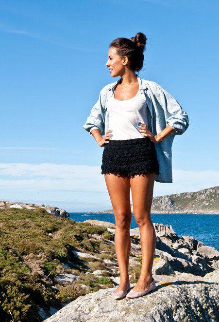 Idea roupa casual com Shorts Crochet